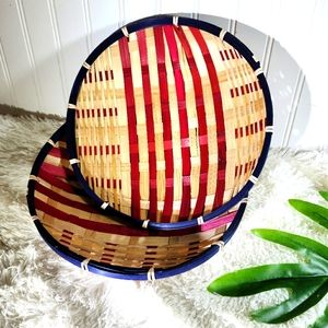 🌵Boho Wicker Rattan Red White and Blue 2
